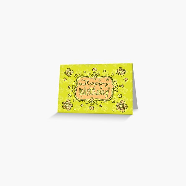 Happy Birthday Doodle Girly Floral Greeting Card Greeting Card