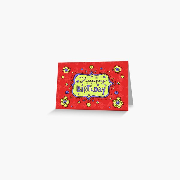 Happy Birthday Doodle Red Girly Greeting Card Greeting Card