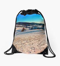 Smooth hills in winter wonderland Drawstring Bag