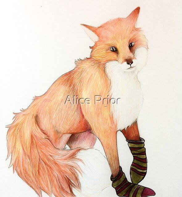 Fox with striped socks by Alice Prior