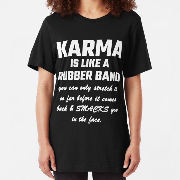 Vintage Look Metal Sign KARMA IS LIKE A RUBBER BAND