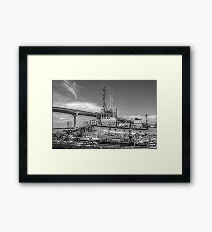 """""""Big Crab"""" docked on a rusty floating dock at Potter's Cay in Nassau, The Bahamas Framed Print"""