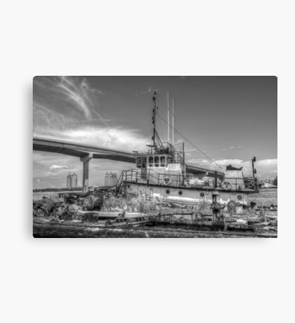 """""""Big Crab"""" docked on a rusty floating dock at Potter's Cay in Nassau, The Bahamas Canvas Print"""