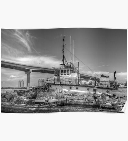 """""""Big Crab"""" docked on a rusty floating dock at Potter's Cay in Nassau, The Bahamas Poster"""