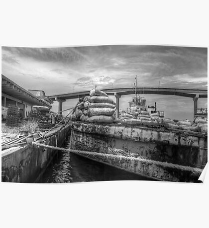 Unloading bags of coal in Potter's Cay - Nassau, The Bahamas Poster