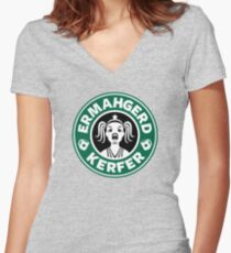 ERMAHGERD, KERFER! Women's Fitted V-Neck T-Shirt