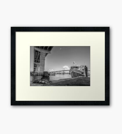 Under the bridge at Potter's Cay in Nassau, The Bahamas Framed Print