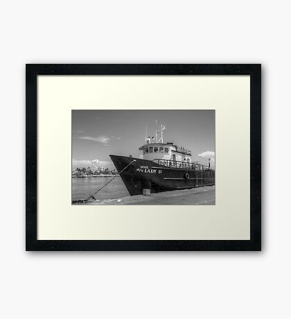 """""""Lady D"""" docked at Potter's Cay in Nassau, The Bahamas Framed Print"""
