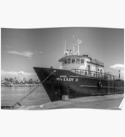 """""""Lady D"""" docked at Potter's Cay in Nassau, The Bahamas Poster"""