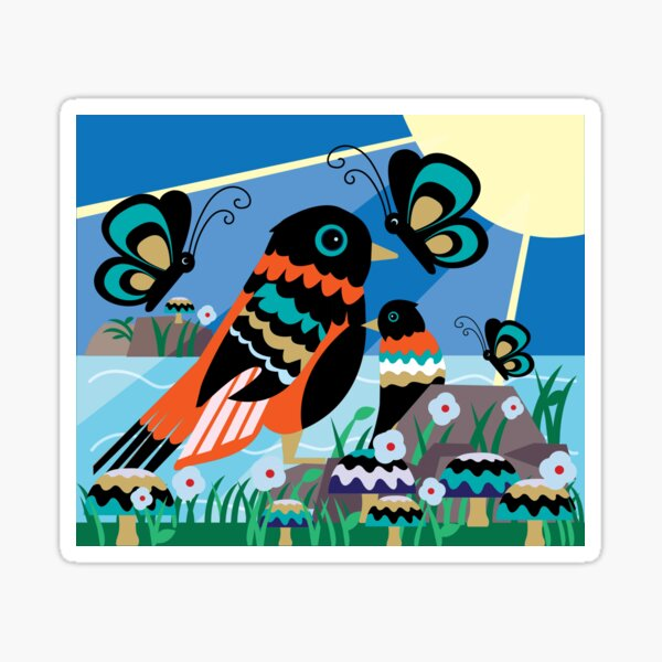 Sparrows and Butterflies Sticker