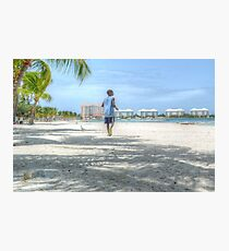 Bahamian Boy at Montagu Beach Photographic Print