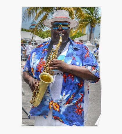 Street Musician in Nassau, The Bahamas Poster
