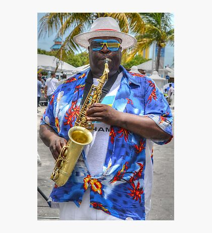 Street Musician in Nassau, The Bahamas Photographic Print