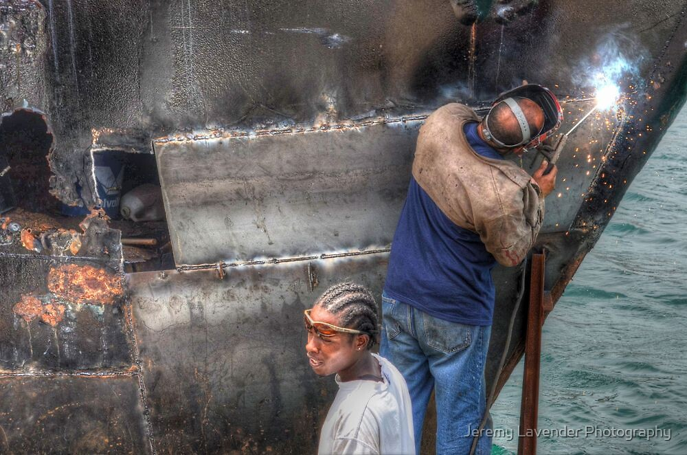 Fixin' Da Boat on Potter's Cay docks in The Bahamas by Jeremy Lavender Photography
