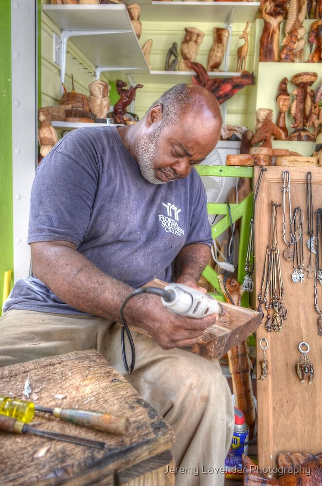 Bahamian Sculptor carving the Wood by Jeremy Lavender Photography