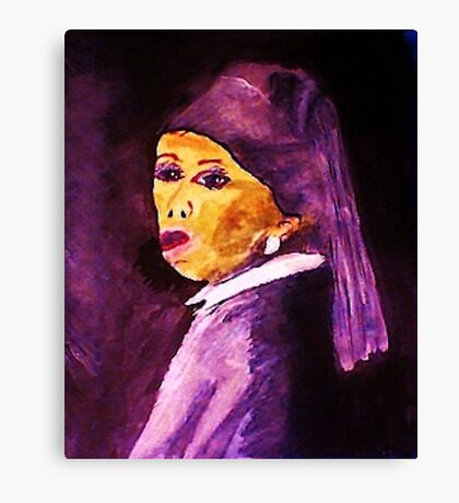My version of Vermeers,,,Girl with pearl earring, #1  watercolor Canvas Print