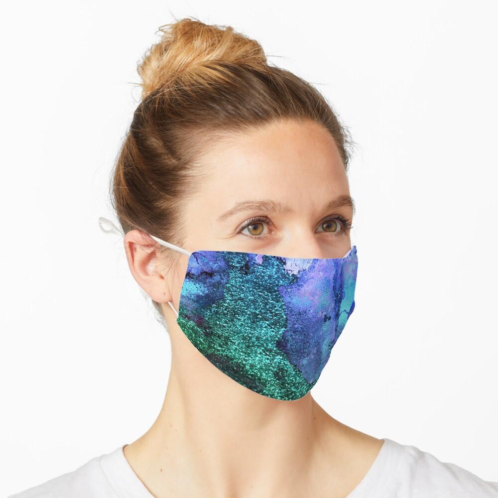 Gold Indigo Blue and Green Malachite Marble Mask