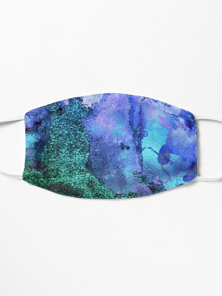 Alternate view of Gold Indigo Blue and Green Malachite Marble Mask