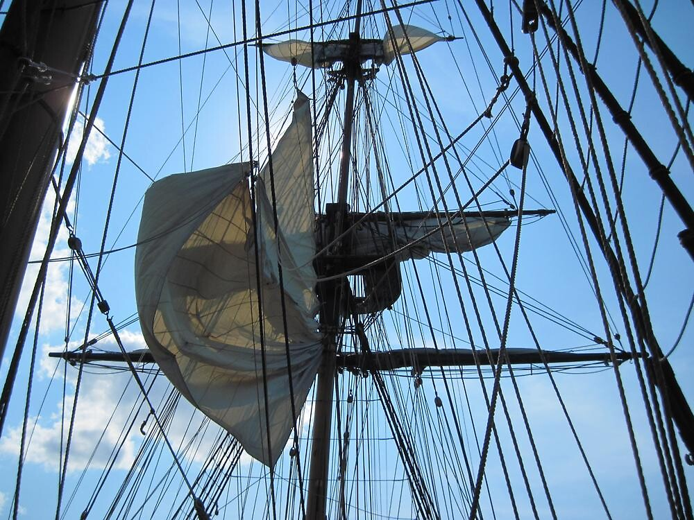 Raising the main topmast staysail by Ray Vaughan