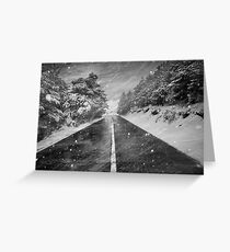 Snowstorm in the road Greeting Card