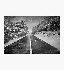 Snowstorm in the road Photographic Print