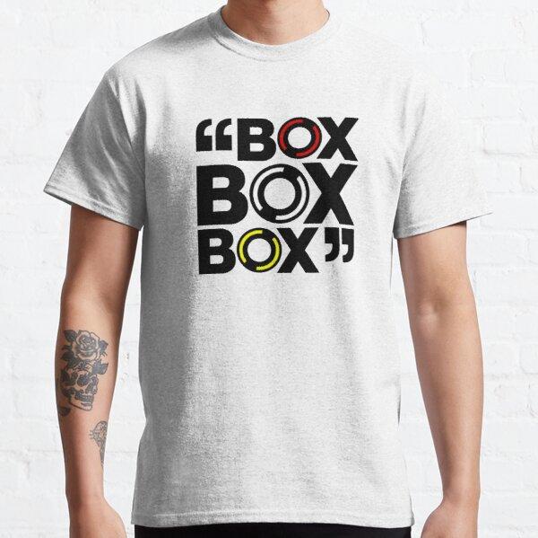 Gran aspecto y diseño 100% personalizado Box Box Box Formula 1 pitstop. Este diseño representa los tres compuestos del neumático (duro Camiseta clásica