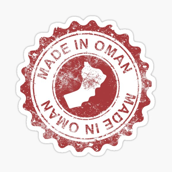 Made in Oman stamp with a map in red stylish design Sticker