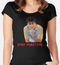 STAY POSITIVE Women's Fitted Scoop T-Shirt