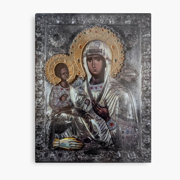 Church icon of Mother of God (Mary) and child (Jesus Christ)  Metal Print