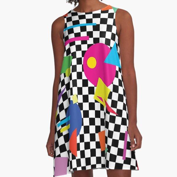 Retro Classic 1980s Shapes On Black and White Check - Retro Shapes #1 A-Line Dress