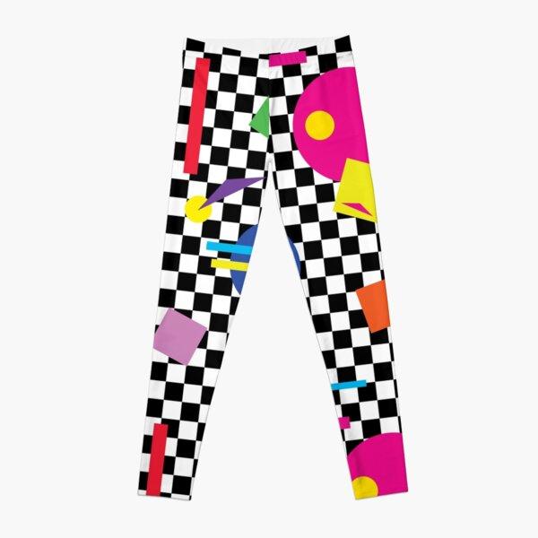 Retro Classic 1980s Shapes On Black and White Check - Retro Shapes #1 Leggings