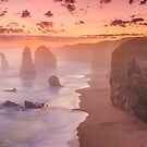 Misty sunset at the twelve apostles by bluetaipan