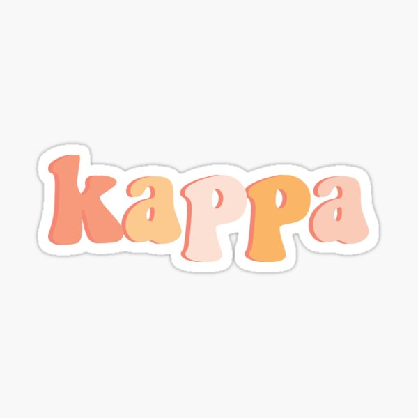 Retro Peach Kappa Greek Letter Sticker Sticker