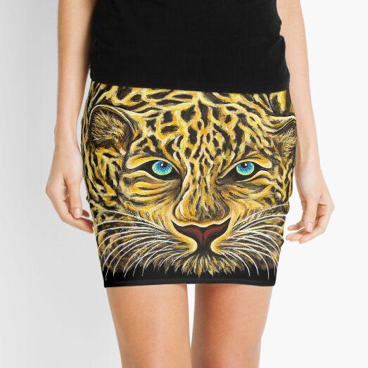 Leopard  - Shee Endangered Retro Animals Mini Skirt