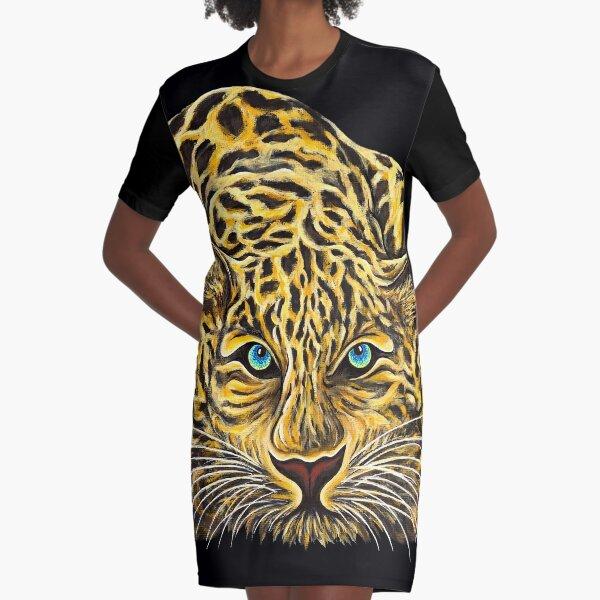 Leopard  - Shee Endangered Retro Animals Graphic T-Shirt Dress