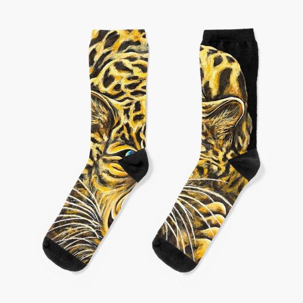 Leopard  - Shee Endangered Retro Animals Socks