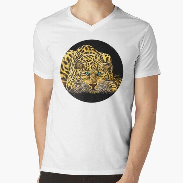 Leopard  - Shee Endangered Retro Animals V-Neck T-Shirt