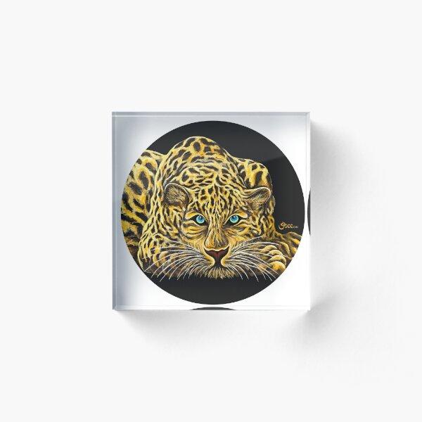 Leopard  - Shee Endangered Retro Animals Acrylic Block