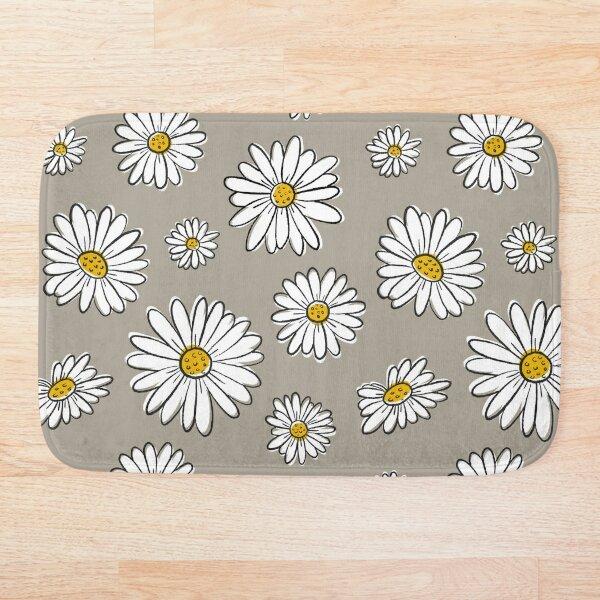 Daisies on Gray Bath Mat