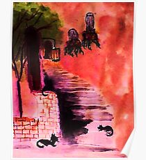 Cats playing on the stairs, watercolor Poster