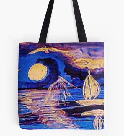 Moonlit sail, watercolor Tote Bag