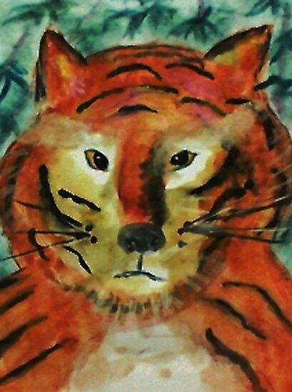 The big cat, watercolor by Anna  Lewis, blind artist
