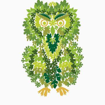 Spring Owl - Leafy Camo by ressamac