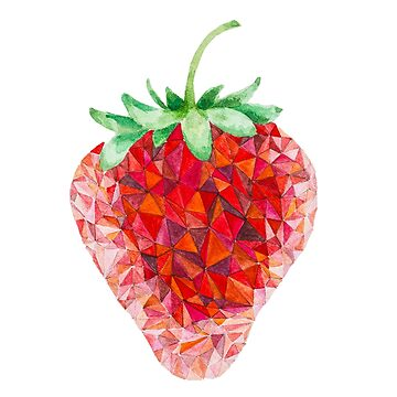 Low Poly Watercolor Strawberry by LidiaP