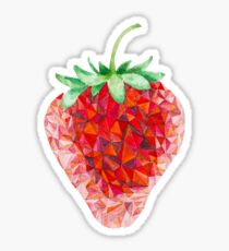 Low Poly Watercolor Strawberry Sticker