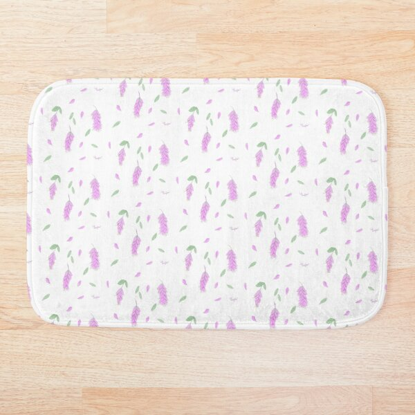 Origanum Spring Flower Pattern Bath Mat