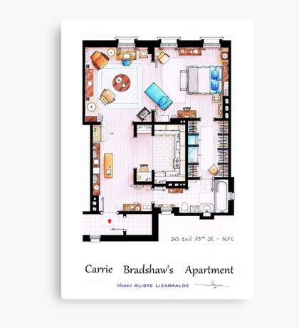 Carrie Bradshaw's Apartment Floorplan v.2 Canvas Print