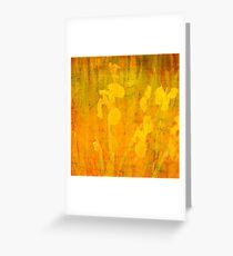 Grunge abstract botanical pattern yellow iris motif Greeting Card