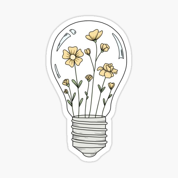 Light Bulb with Yellow Flowers Sticker