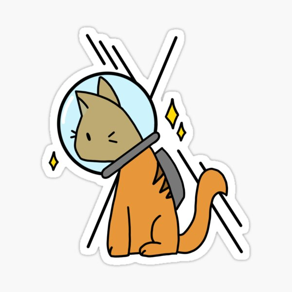 Star Gazing Space Cat Sticker